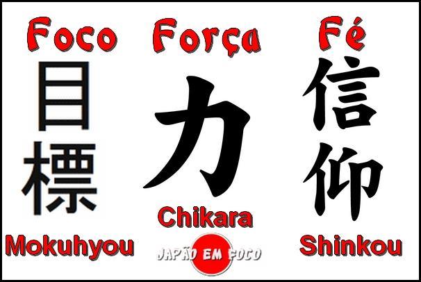 kanji de foco, força e fé