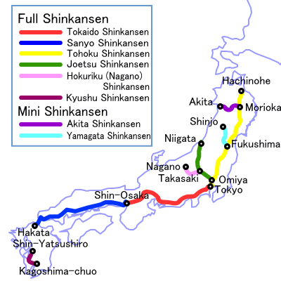 Shinkansen mapa Japão