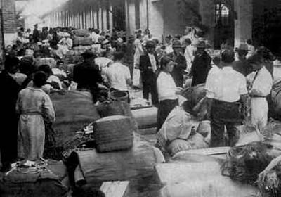 Imigrantes japoneses na Hospedaria dos Imigrantes