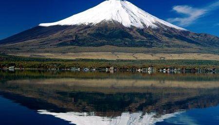 Monte Fuji, reflexo no lago Tanuki