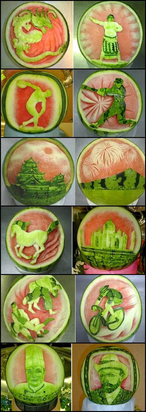 Takashi Itoh Montagem Esculturas em melancias