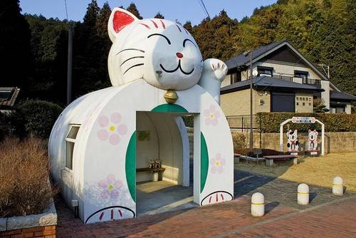 Maneki neko Ponto de ônibus em Fukuoka