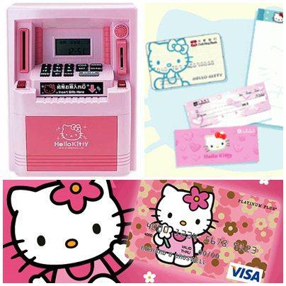 Caixa eletrônico ATM, talão de cheques, cartão de débito e cartão de crédito by Hello Kitty