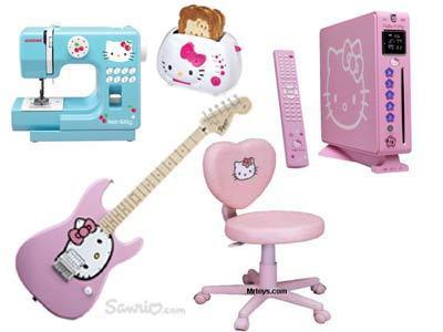 Máquina de costura, tostadeira, computador, guitarra e cadeira para pc by Hello Kitty