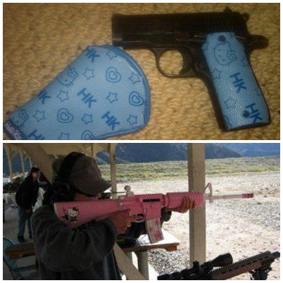 Armas de fogo, decorados com Hello Kitty