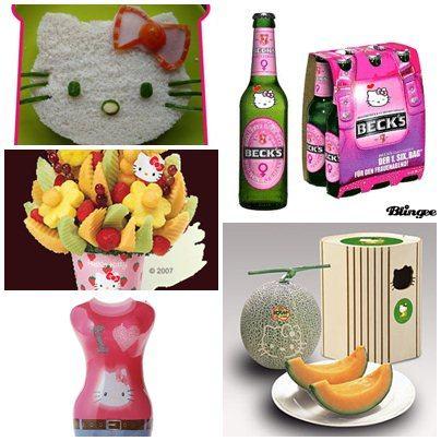 Cerveja, água mineral, obentôs decorados, buquet de frutas e melão com a marca da gatinha