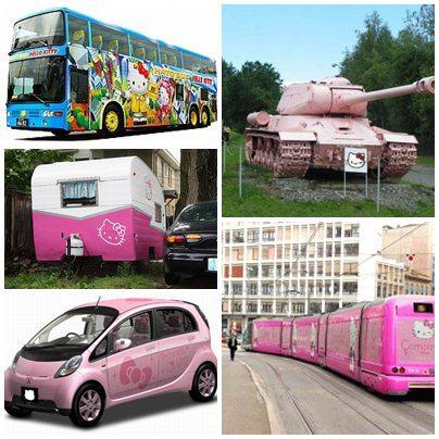 Ônibus, trailler, carro, tanque de guerra e trem decorados com Hello Kitty