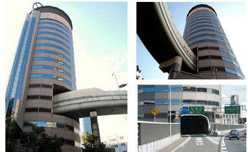 A rodovia que passa por dentro de um edifício