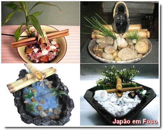 fonte de água de bambu pequeno fotos