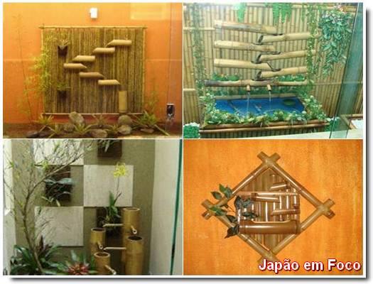 fonte de bambu parede fotos