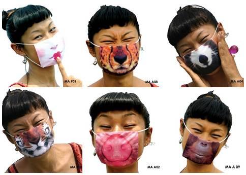 Máscaras criativas no Japão
