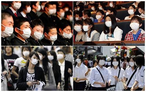 Máscaras no Japão fotos