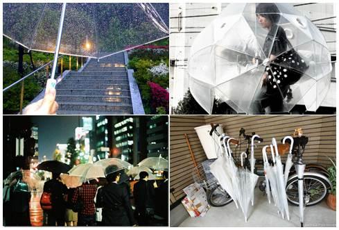 guarda-chuva transparente no Japão fotos