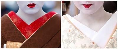 Gola Vermelha é das gueixas e gola branca é das maikos