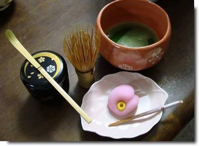 Chá verde e wagashi