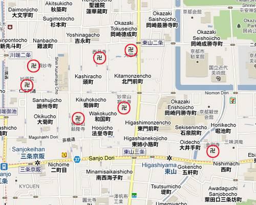 Manji em mapas representa os templos no Japão