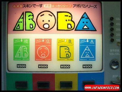 Máquina automática que vende camisinha do tipo sanguíneo