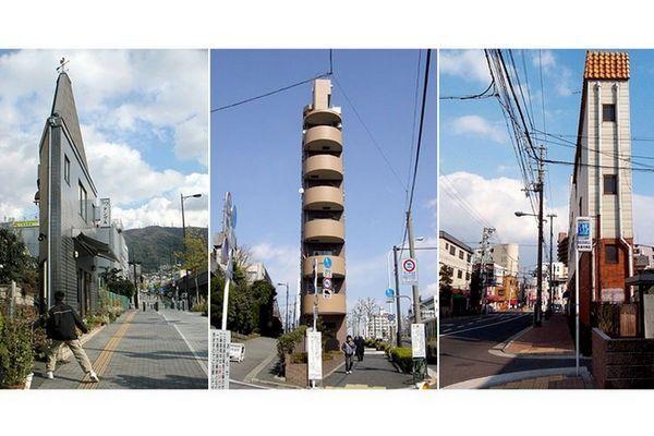 Edifícios estreitos no Japão
