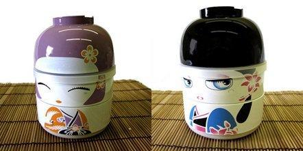 Kokeshi Bento box boy and Girl