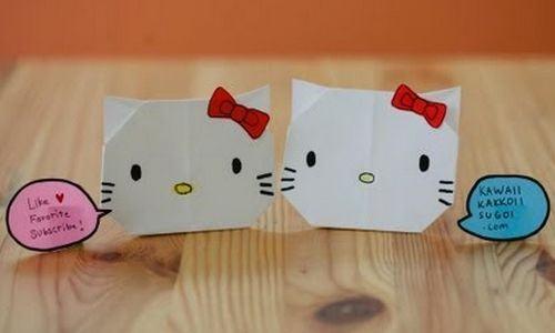 Origami da Hello Kitty - Muito fácil