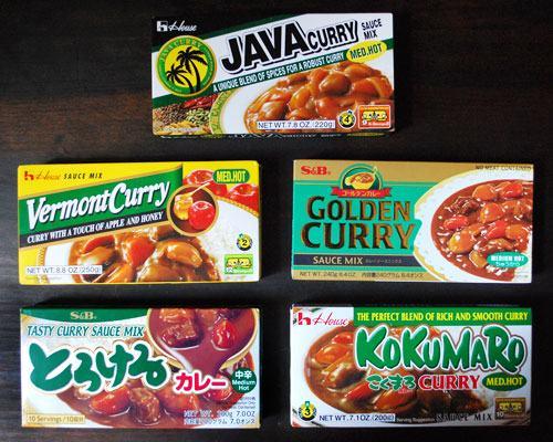 Variedades de tabletes de curry no Japão