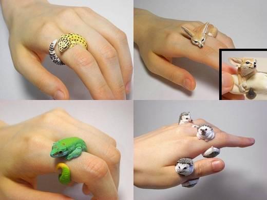 Anéis Criativos de Animais de Jiro Miura