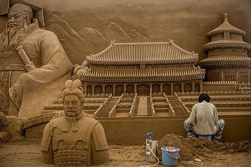 Esculturas de areia em Yokohama