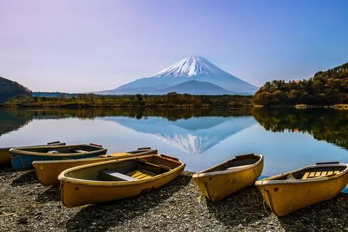 Shojiko Lake e Mt Fuji