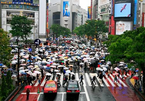 Um dia de chuva em Shibuya Tóquio