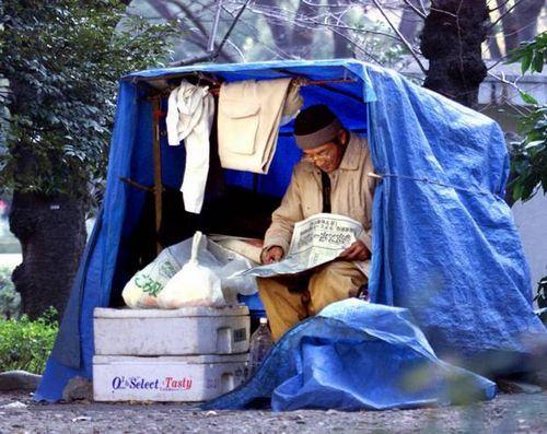 Morador de rua no Japão