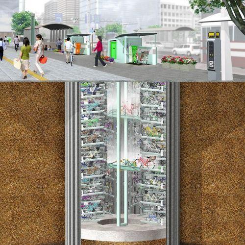 Estacionamento de Bicicletas Subterrâneo em Tóquio