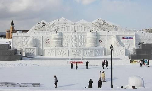 Escultura de neve das montanhas Daisetsuzan