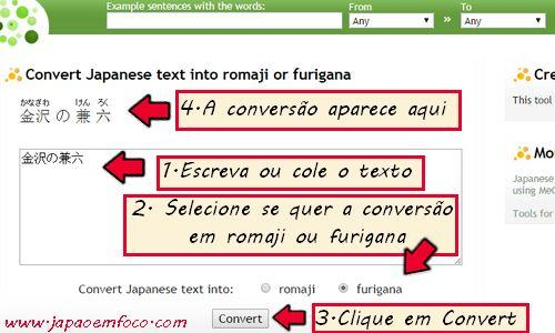 Conversor de kanji para romaji e furigana (tatoeba.org)