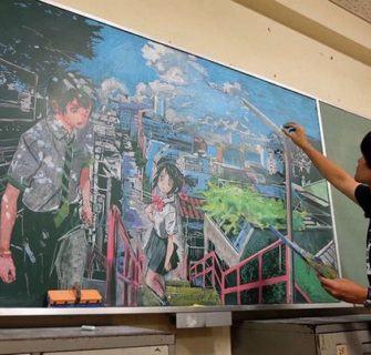 Incríveis desenhos no quadro negro por Hirotaka Hamasaki
