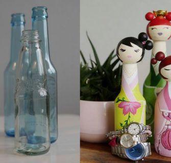 Inspire-se e transforme garrafas de vidro usadas em bonecas kokeshi
