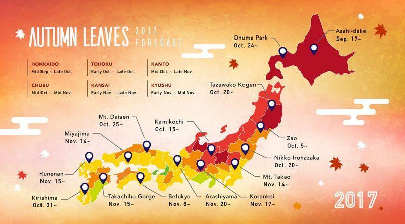 Previsão folhas de outono no Japão 2017