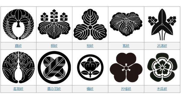 Alguns dos Kamon mais usados pelas famílias no Japão