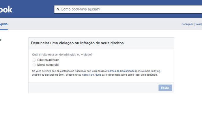 Página do facebook Hackeada Roubada - Formulário 1