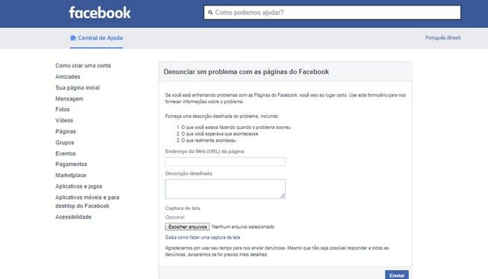 Página do facebook Hackeada Roubada - Formulário