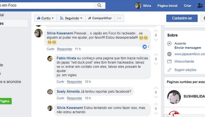 Página do facebook Hackeada