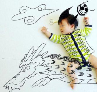 Pai japonês desenha em fotos dos seus filhos e o resultado é fascinante, confira