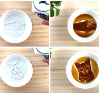 Ao derramar molho de soja nesses pratos, figuras ocultas se revelam