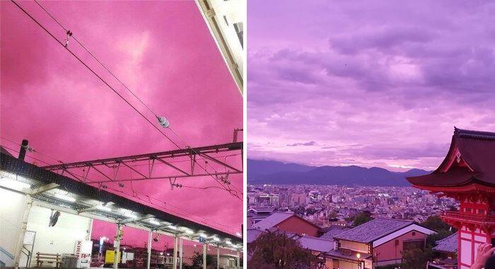 Horas antes da passagem do tufão Hagibis, o céu do Japão ganhou tons de rosa e violeta