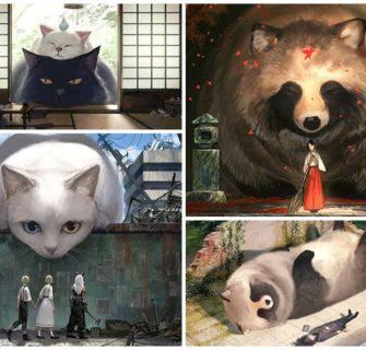 Ilustrador japonês imagina um mundo onde humanos vivem entre animais gigantes